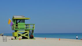 Miami Beach lifeguard hut 4k stock video footage