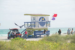 Miami Beach lifeguard station Royalty Free Stock Images