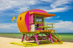 Free Miami Beach Lifeguard Station On The Shoreline Royalty Free Stock Images - 159800319