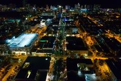 Miami Beach Lincoln Road flyg- bild Arkivbild