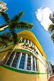 Fachada del art déco del restaurante en Miami Beach Imagen de archivo