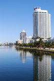 Miami Beach Luxury Condos and Hotels. Miami Beach view looking north of the intercoastal waterway and luxury condo  and hotel towers on Collins Avenue Royalty Free Stock Photo