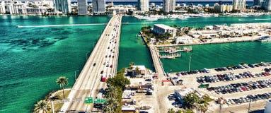 Miami Beach and Macarthur Causeway aerial view, Florida - USA Royalty Free Stock Photography