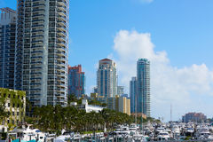 Miami Beach from MacArthur Causeway Florida Royalty Free Stock Images