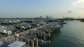Miami Beach marina at dusk stock video footage