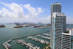 Miami Beach Marina and highrise Royalty Free Stock Photo