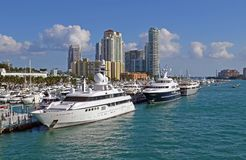 Miami Beach Marina  and Luxury Condominium Towers Royalty Free Stock Image