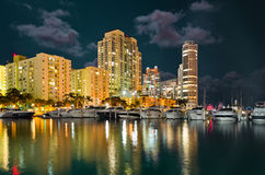 Miami Beach Marina in the night Royalty Free Stock Images