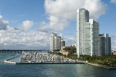 Miami Beach Marina. The view of little marina next to apartment buildings in Miami Beach Florida Royalty Free Stock Photo
