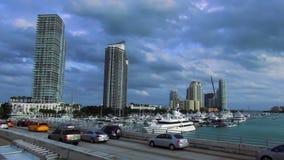 Miami Beach Marina yacht and boats USA cityscapes stock video footage