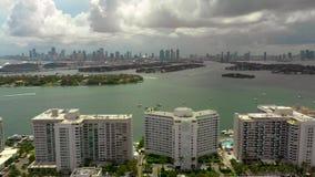 Miami Beach med sikten av fjärden stock video