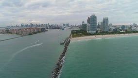 Miami Beach, Miami downtown and ocean. Urban skyline. Aerial view. Miami Beach, Miami downtown and ocean on cloudy day. Urban skyline. Aerial view. United States stock footage