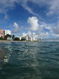 Miami Beach from the ocean Royalty Free Stock Photography