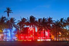 Miami Beach på natten Fotografering för Bildbyråer