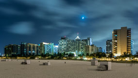 Miami Beach på natten Arkivfoto