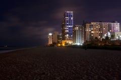 Miami Beach på natten Royaltyfria Bilder