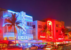 Miami Beach på natten Royaltyfria Foton