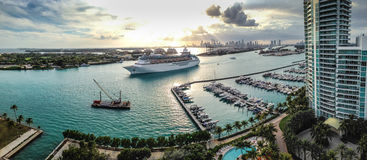 Miami Beach panorama. Shot showing cuise, Miami Beach Marina, Downtown and highrises Stock Photo