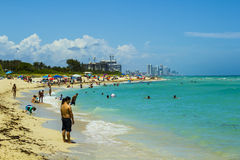 Miami Beach. With people sunbathing and swiming Stock Photo