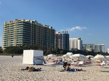 Miami Beach. A radiant sun in Miami beach, a lot of tourist are taking sun, to get color Royalty Free Stock Image