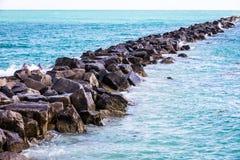 Miami Beach Sea. Miami Beach Rock to the Ocean Stock Photography
