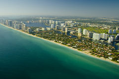 Aerial view of Miami beach Stock Images