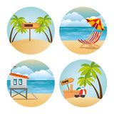Miami beach set scenes. Vector illustration design royalty free illustration