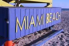 Miami Beach Sign. SOUTH BEACH, MIAMI- Miami Beach sign in South Beach, Miami, Florida Royalty Free Stock Photos
