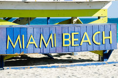 Miami Beach sign. Sign on the beach in Miami, state Florida USA Royalty Free Stock Photography