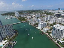 Miami Beach from the sky aerial photo Royalty Free Stock Images