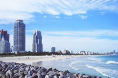 Miami Beach skyline view from South Point Pier Royalty Free Stock Photos