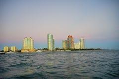 Miami beach sunset. Miami beach skyscrapers at sun set Royalty Free Stock Photography