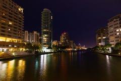 Miami Beach stadslandskap på natten Arkivfoto