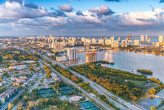 Miami beach streets and canals, aerial view at dusk.  Royalty Free Stock Photography