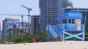 Miami beach summer day construction bay lifeguard tower 4k usa stock footage