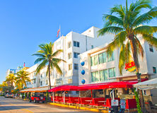 Miami BEach summer day,  hotels and restaurants on Ocean Drive Stock Images