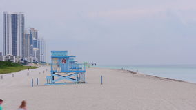 Miami beach summer evening lifeguard tower panorama 4k time lapse florida usa. Usa miami beach summer evening lifeguard tower panorama 4k time lapse florida stock footage