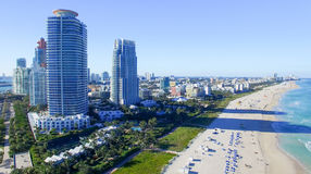 Miami Beach on a sunny day, aerial view Royalty Free Stock Photography