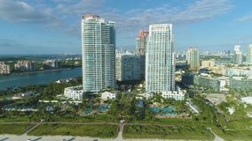 Miami beach at sunny morning. Urban cityscape. Aerial view. United States of America stock video footage