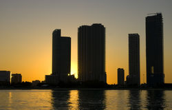 Miami Beach Sunset. Miami Beach, Florida, skyscrapers on the sunset background shot from the channel Stock Photos