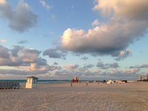 Miami Beach. Sunset at Miami Beach with a lifeguard house Stock Photography