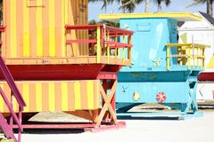Miami beach typical lifeguard house colorful baywatch south beach Royalty Free Stock Images