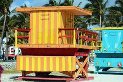 Miami beach typical lifeguard house colorful baywatch south beach Stock Photo