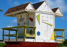 Miami beach typical lifeguard house colorful baywatch south beach. In south Florida Royalty Free Stock Photo
