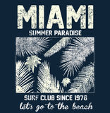 Miami beach typography with floral illustration for t-shirt prin. T , vector illustration fashion style Royalty Free Stock Image