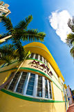 Art- DecoFassade des Restaurants im Miami Beach Stockbild