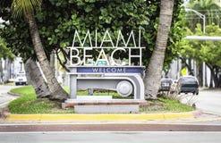 Miami Beach välkommet tecken Royaltyfria Foton