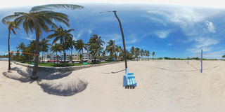 Miami Beach volleyball on the sand 360 spherical image Royalty Free Stock Images