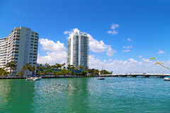 Miami Beach waterfront with anchored yachts near the bridge. Royalty Free Stock Image