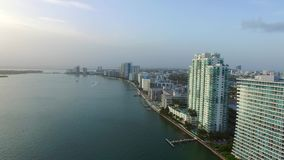 Miami Beach waterfront architecture aerial stock video footage